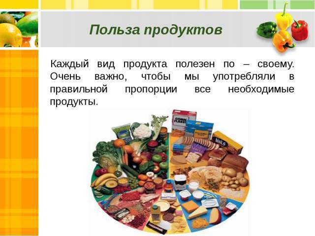 Польза продуктов Каждый вид продукта полезен по – своему. Очень важно, чтобы...