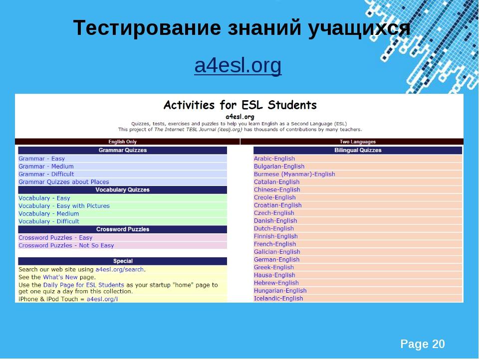 Тестирование знаний учащихся a4esl.org Powerpoint Templates Page *