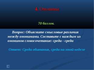4. Омонимы 70 баллов. Вопрос: Объясните смысловые различия между омонимами. С