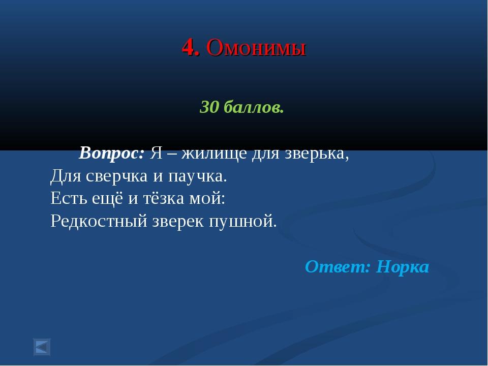 4. Омонимы 30 баллов. Вопрос: Я – жилище для зверька, Для сверчка и паучка....