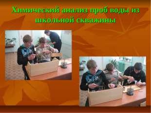 Химический анализ проб воды из школьной скважины