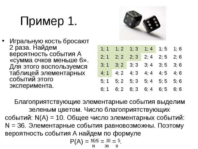 Пример 1. Игральную кость бросают 2 раза. Найдем вероятность события А «сумма...