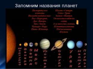 Запомним названия планет