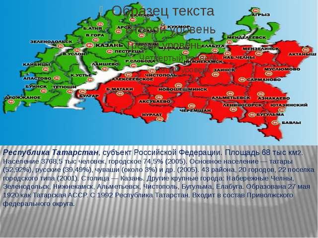 Республика Татарстан, субъект Российской Федерации. Площадь 68 тыс км2. Насе...