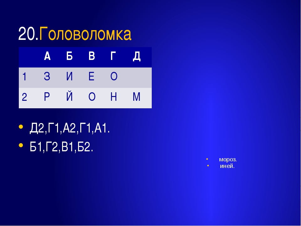 20.Головоломка Д2,Г1,А2,Г1,А1. Б1,Г2,В1,Б2. мороз. иней. А Б В Г Д 1 З И Е О...