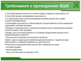 Требования к проведению ВШК 1.План ВШК должен полностью соответствовать годов