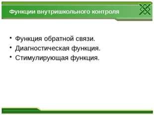 Функции внутришкольного контроля Функция обратной связи. Диагностическая фу