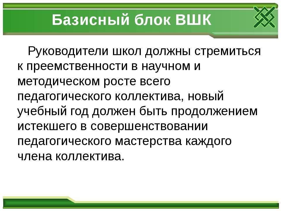 Базисный блок ВШК Руководители школ должны стремиться к преемственности в нау...