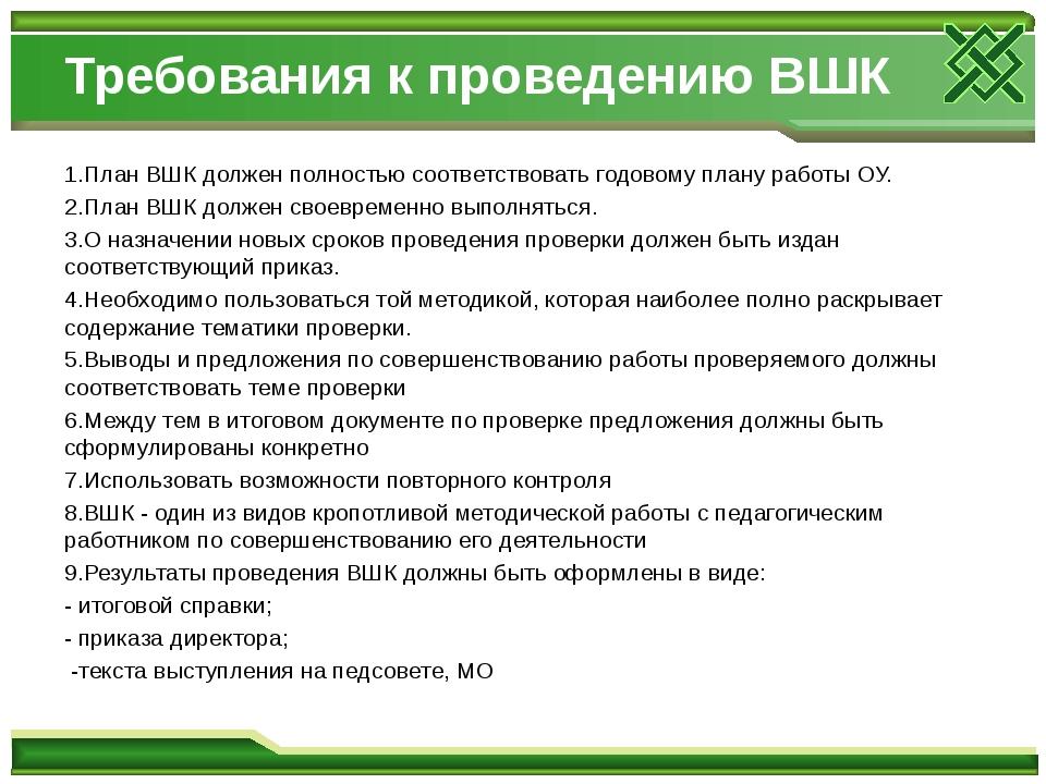 Требования к проведению ВШК 1.План ВШК должен полностью соответствовать годов...