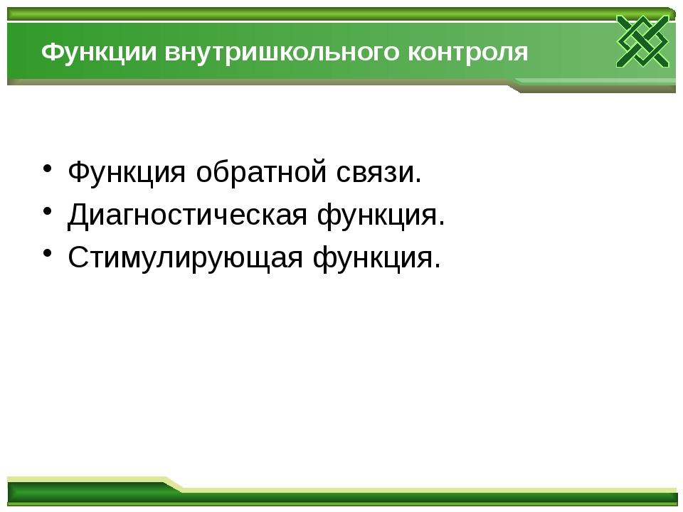 Функции внутришкольного контроля Функция обратной связи. Диагностическая фу...