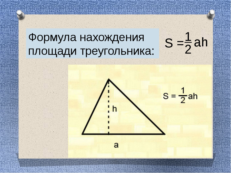 Формула нахождения площади треугольника: S = 1 2 ah