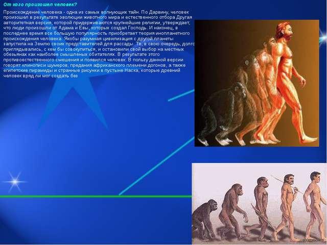 От кого произошел человек? Происхождение человека - одна из самых волнующих т...