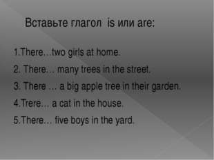 Вставьте глагол is или are: 1.There…two girls at home. 2. There… many trees i