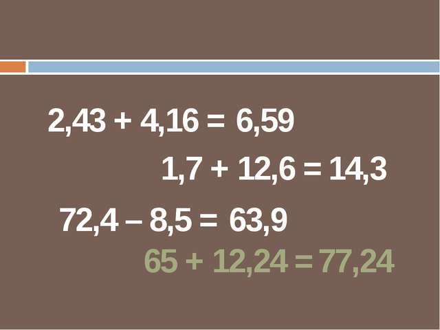 2,43 + 4,16 = 6,59 1,7 + 12,6 = 14,3 72,4 – 8,5 = 63,9 65 + 12,24 = 77,24