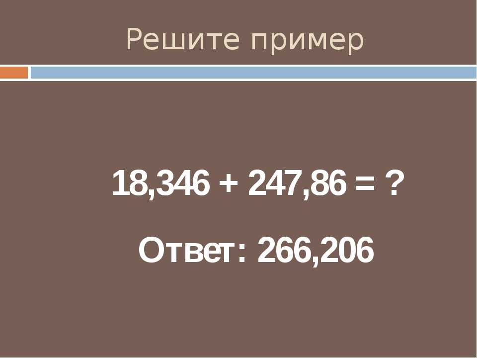 Решите пример 18,346 + 247,86 = ? Ответ: 266,206