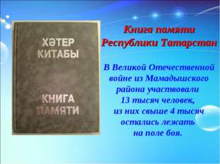 Книга памяти Республики Татарстан В Великой Отечественной войне из Мамадышско