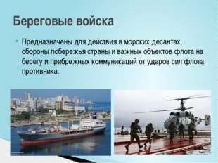 Предназначены для действия в морских десантах, обороны побережья страны и важ