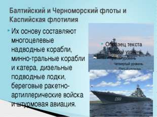 Их основу составляют многоцелевые надводные корабли, минно-тральные корабли и