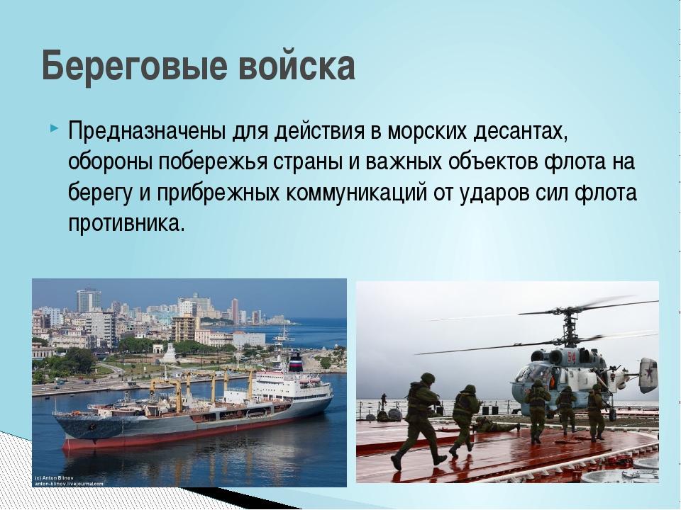 Предназначены для действия в морских десантах, обороны побережья страны и важ...