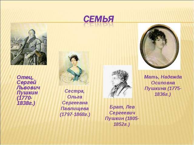 Отец, Сергей Львович Пушкин (1770-1838г.) Мать, Надежда Осиповна Пушкина (177...