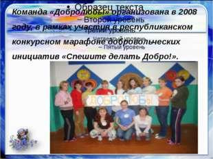 Команда «Добролюбы» организована в 2008 году, в рамках участия в республикан