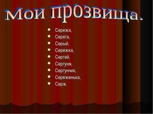 Сережа, Серега, Серый, Сережка, Сергей, Сергуня, Сергунчик, Сереженька, Серж.