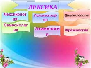 Лексикология ЛЕКСИКА Семасиология Этимология Фразеология Лексикография Диале