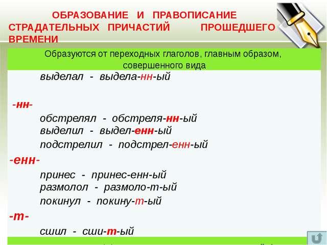 ОБРАЗОВАНИЕ ПРИЧАСТИЙ (сводная таблица) Неопределенная форма глагола Действи...