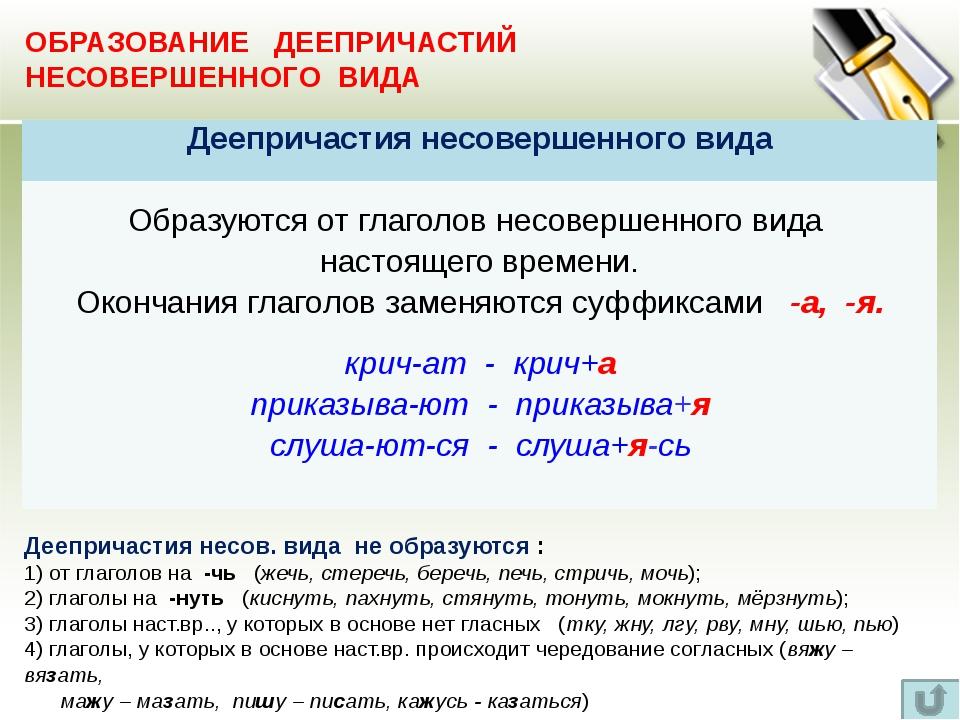 ОБРАЗОВАНИЕ ДЕЕПРИЧАСТИЙ СОВЕРШЕННОГО ВИДА От ряда глаголов возможно двоякое...