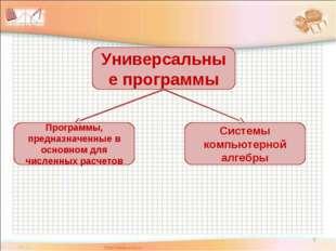 * Универсальные программы Программы, предназначенные в основном для численных