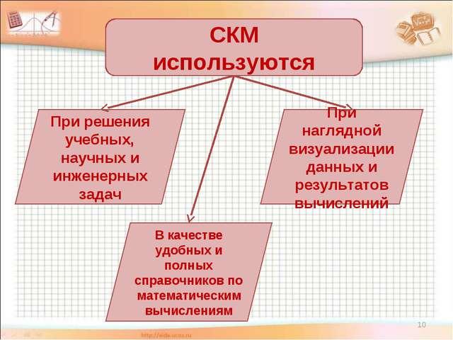 * СКМ используются При решения учебных, научных и инженерных задач При нагляд...