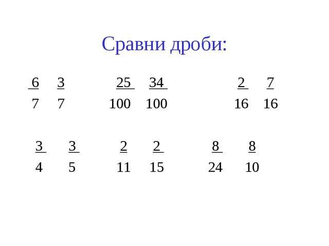 Сравни дроби: 6 3 25 34 2 7 7 7 100 100 16 16 3 3 2 2 8 8 4 5 11 15 24 10