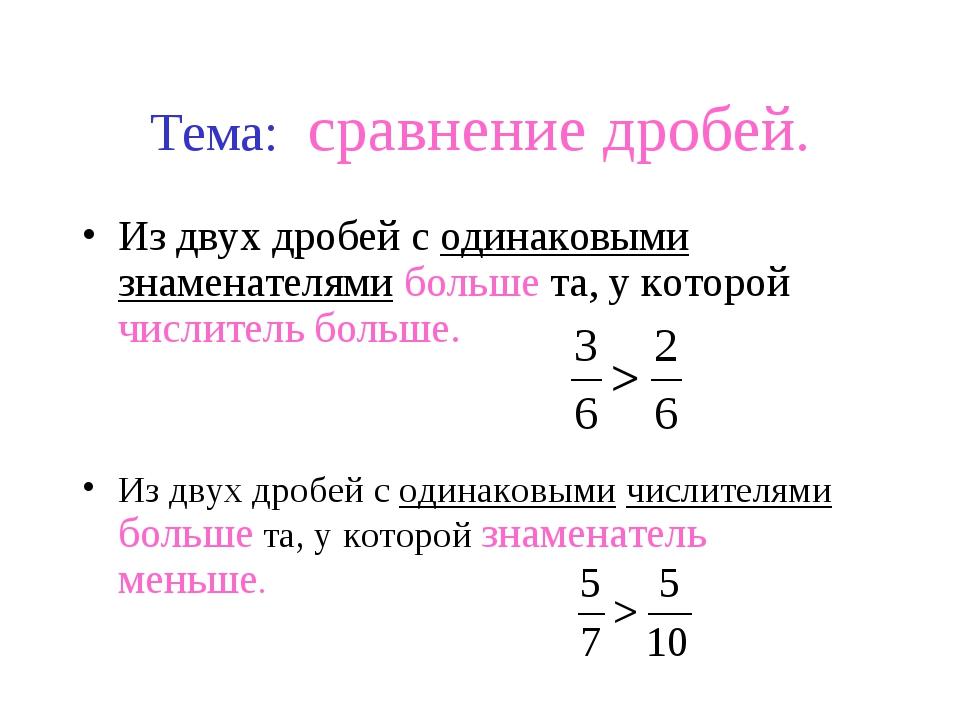 Тема: сравнение дробей. Из двух дробей с одинаковыми знаменателями больше та,...