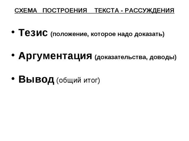 СХЕМА ПОСТРОЕНИЯ ТЕКСТА - РАССУЖДЕНИЯ Тезис (положение, которое надо доказать...