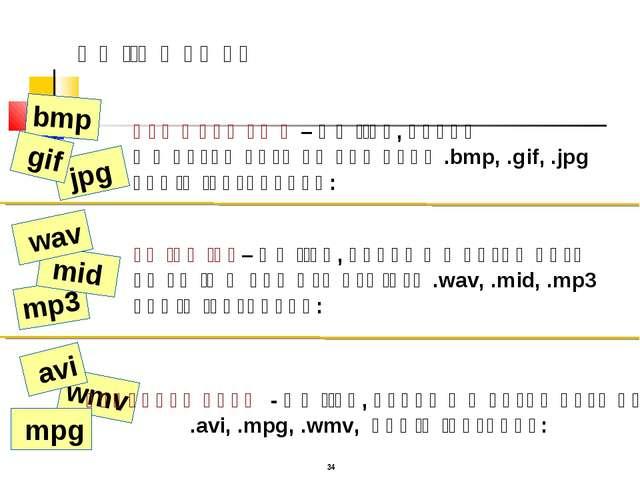 wmv mp3 jpg * գրաֆիկական – ֆայլեր, որոնք պարունակում են նկարներ .bmp, .gif, ....