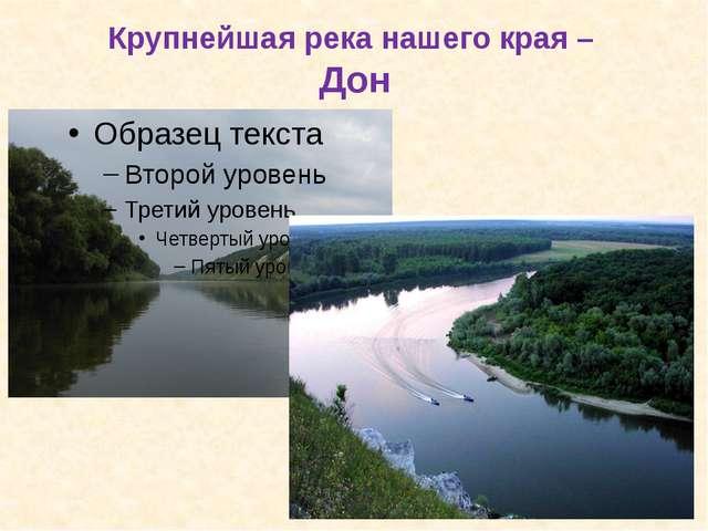 Крупнейшая река нашего края – Дон