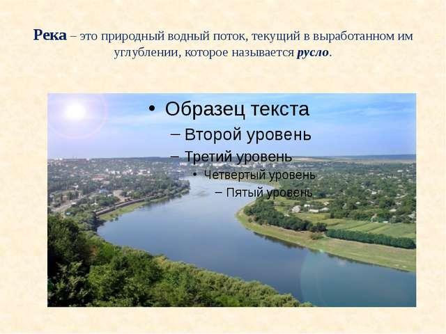 Река – это природный водный поток, текущий в выработанном им углублении, кото...
