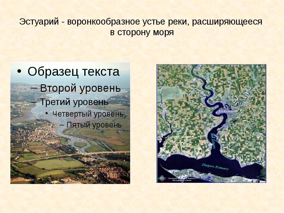 Эстуарий - воронкообразное устье реки, расширяющееся в сторону моря