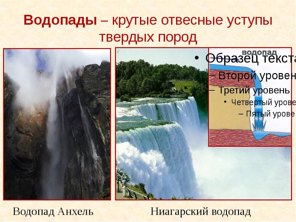 Водопады – крутые отвесные уступы твердых пород Водопад Анхель Ниагарский вод...