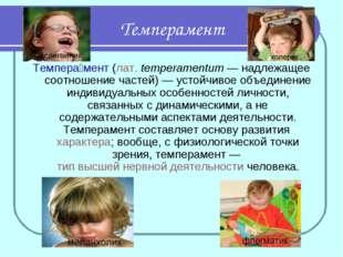 Темперамент Темпера́мент(лат.temperamentum— надлежащее соотношение частей