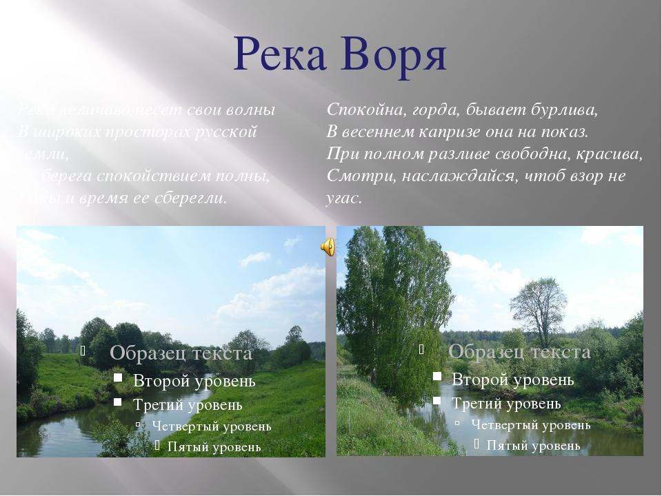 Река Воря Река величаво несет свои волны В широких просторах русской земли, Е...