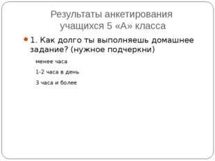 Результаты анкетирования учащихся 5 «А» класса 1. Как долго ты выполняешь дом