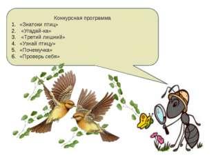 Конкурсная программа «Знатоки птиц» «Угадай-ка» «Третий лишний» «Узнай птицу»