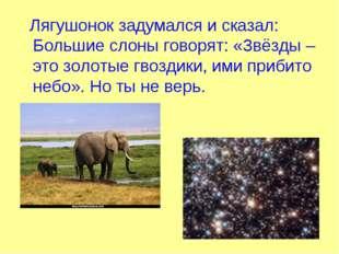 Лягушонок задумался и сказал: Большие слоны говорят: «Звёзды – это золотые г