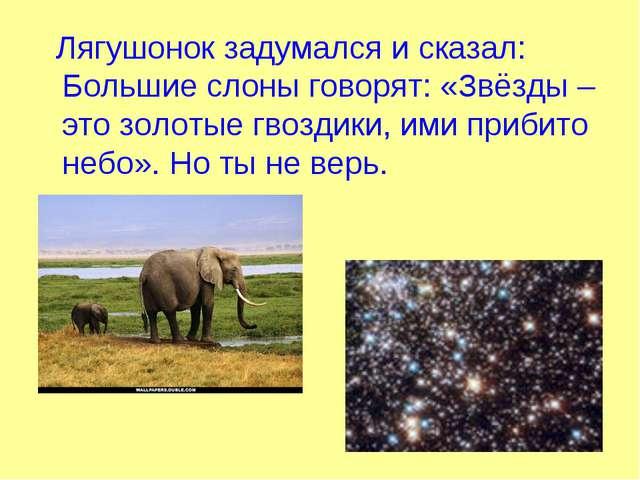 Лягушонок задумался и сказал: Большие слоны говорят: «Звёзды – это золотые г...