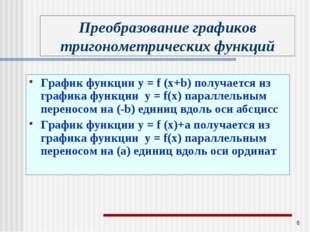 * График функции у = f (x+b) получается из графика функции у = f(x) параллель