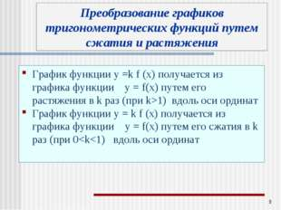 * График функции у =k f (x) получается из графика функции у = f(x) путем его