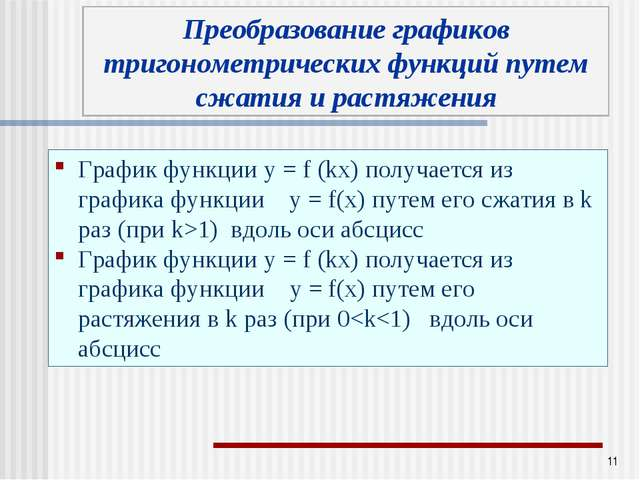 * График функции у = f (kx) получается из графика функции у = f(x) путем его...
