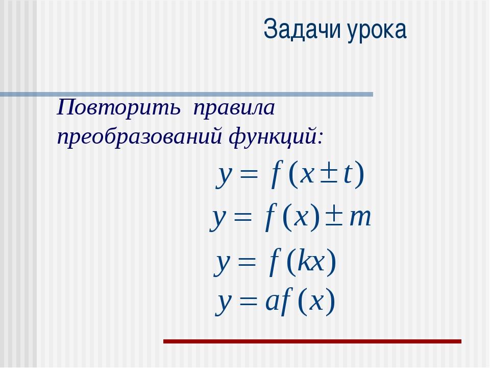 Задачи урока Повторить правила преобразований функций: