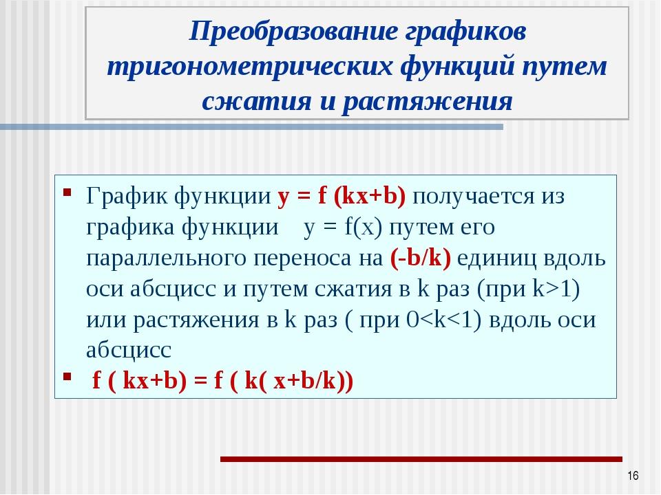 * График функции у = f (kx+b) получается из графика функции у = f(x) путем ег...